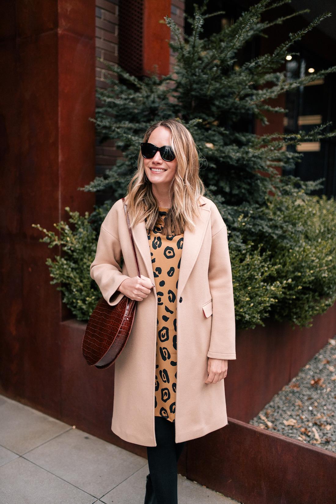 Outfit Details: Topshop Camel Coat // Target Leopard Dress // Express Opaque Tights / Sézane Bag // Polaroid Sunglasses