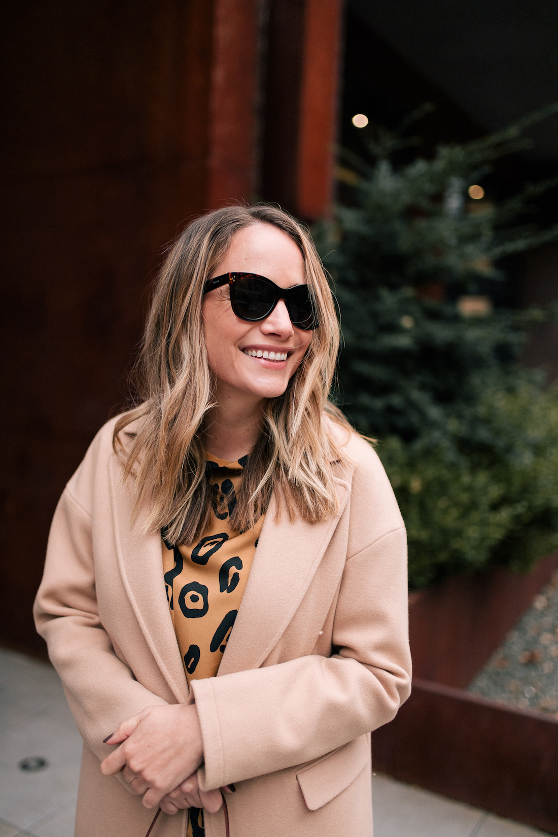 Outfit Details: Topshop Camel Coat // Target Leopard Dress