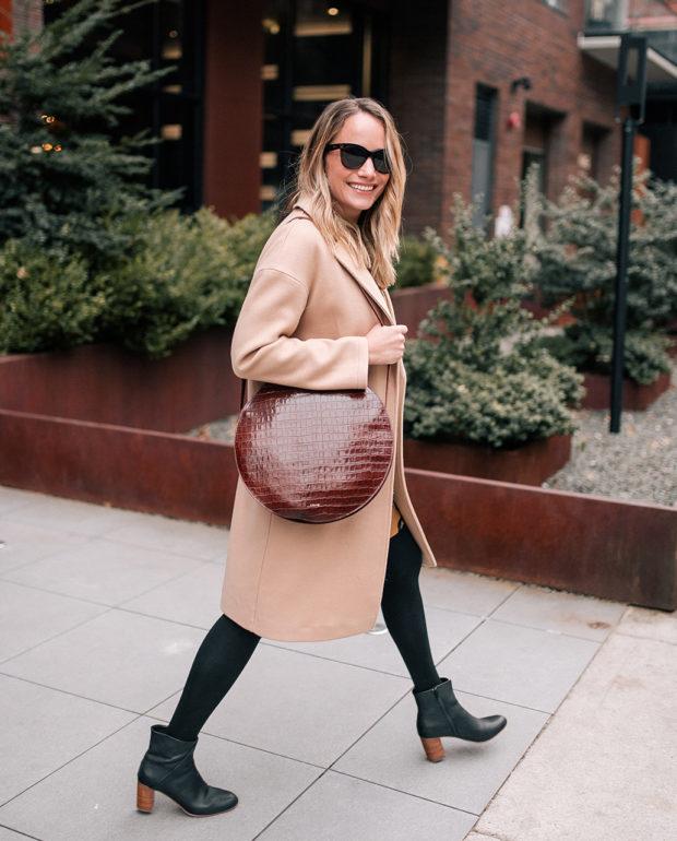 Outfit Details: Topshop Camel Coat // Target Leopard Dress // Express Opaque Tights // Soludos Boots // Sézane Bag // Polaroid Sunglasses