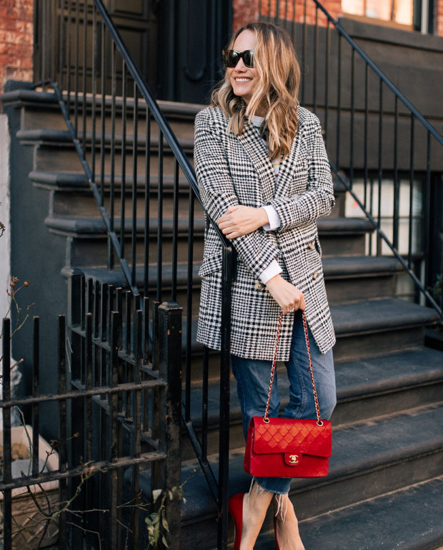 Grace Atwood Outfit Details:Topshop Coat // Brooks Brothers Red Fleece Rainbow Sweater // Re/Done Denim // Manolo Blahnik Pumps // Vintage Chanel Purse // Celine Sunglasses