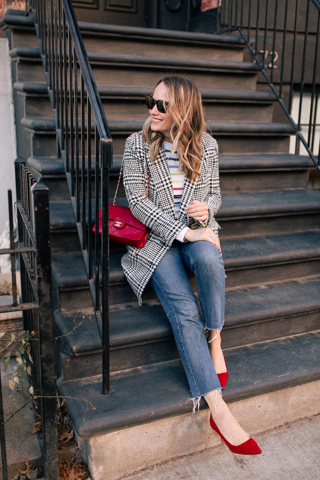 Outfit Details:Topshop Coat // Brooks Brothers Red Fleece Rainbow Sweater // Re/Done Denim // Manolo Blahnik Pumps // Vintage Chanel Purse // Celine Sunglasses(exact)