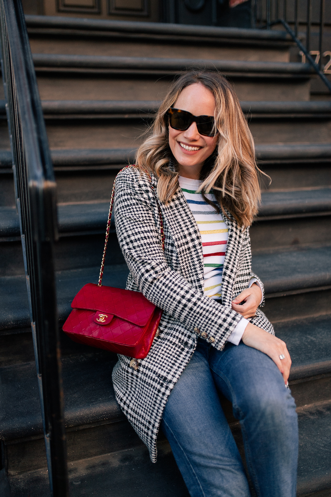 Outfit Details: Topshop Coat // Brooks Brothers Red Fleece Rainbow Sweater // Re/Done Denim // Vintage Chanel Purse // Celine Sunglasses (exact)