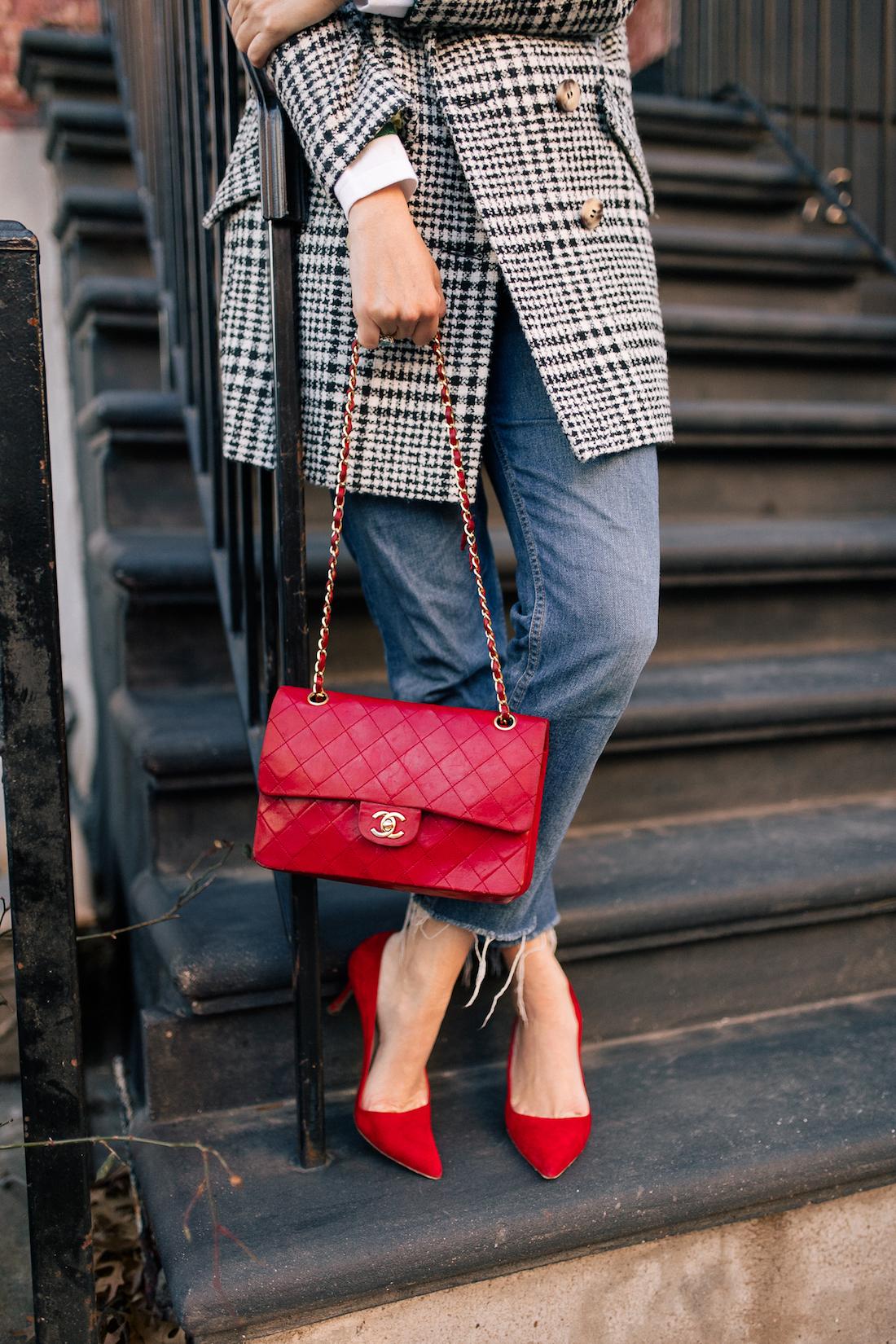 Grace Atwood Outfit Details:Topshop Coat // Re/Done Denim // Manolo Blahnik Pumps // Vintage Chanel Purse