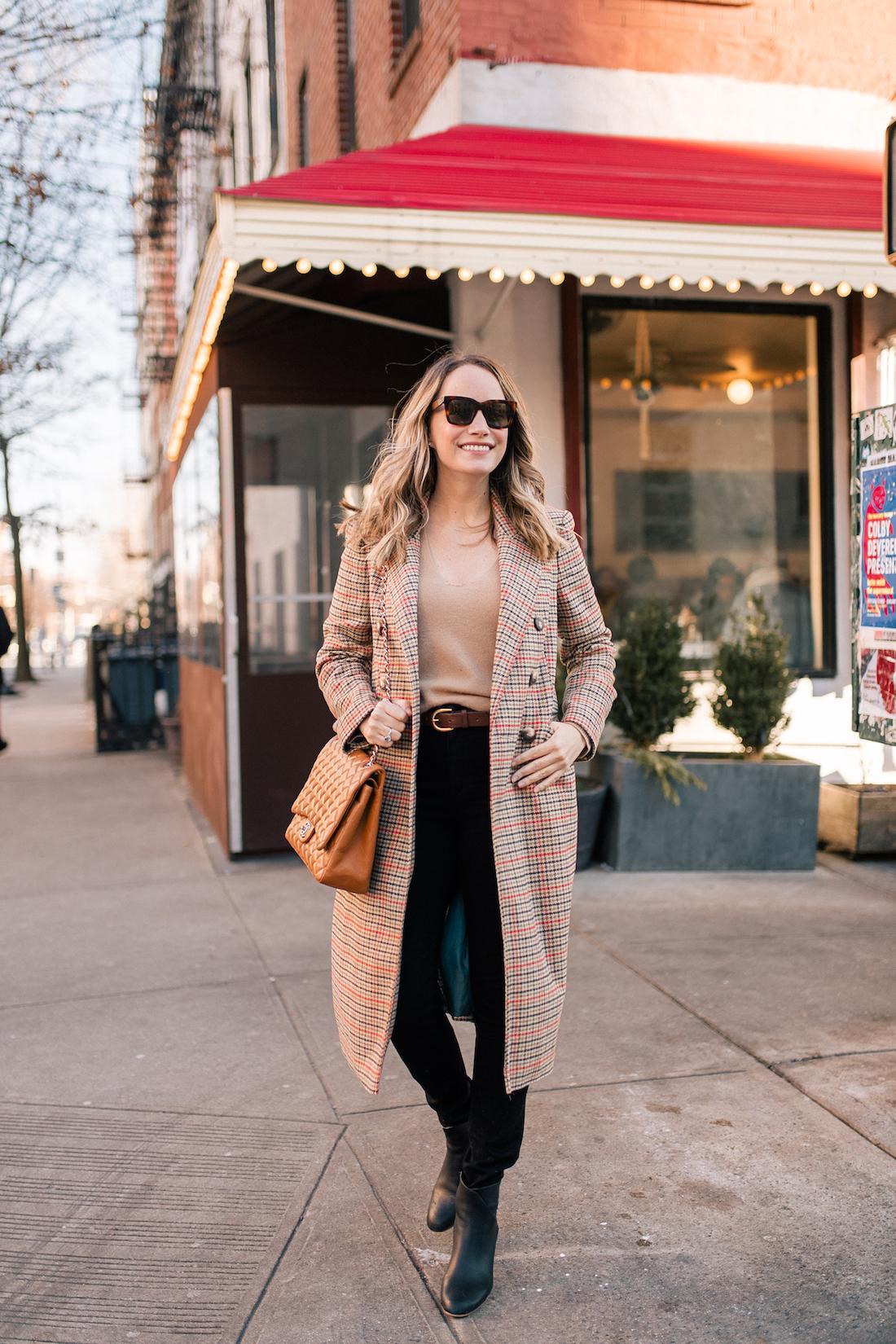 Outfit Details:Topshop Coat // Theory Cashmere Sweater // Paige Jeans // Celine Sunglasses // J.Crew Belt // Soludos Boots // Chanel Purse