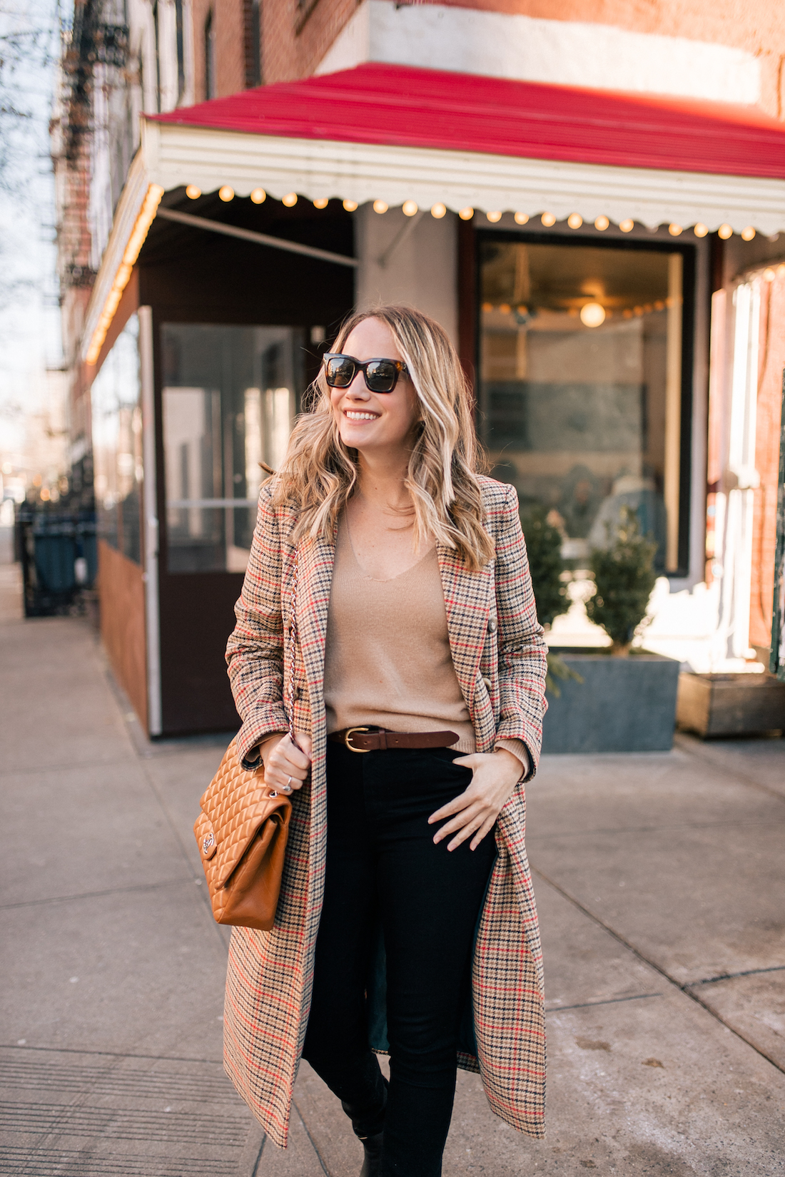 Grace Atwood Outfit Details:Topshop Coat // Theory Cashmere Sweater // Paige Jeans // Celine Sunglasses // J.Crew Belt // Chanel Purse