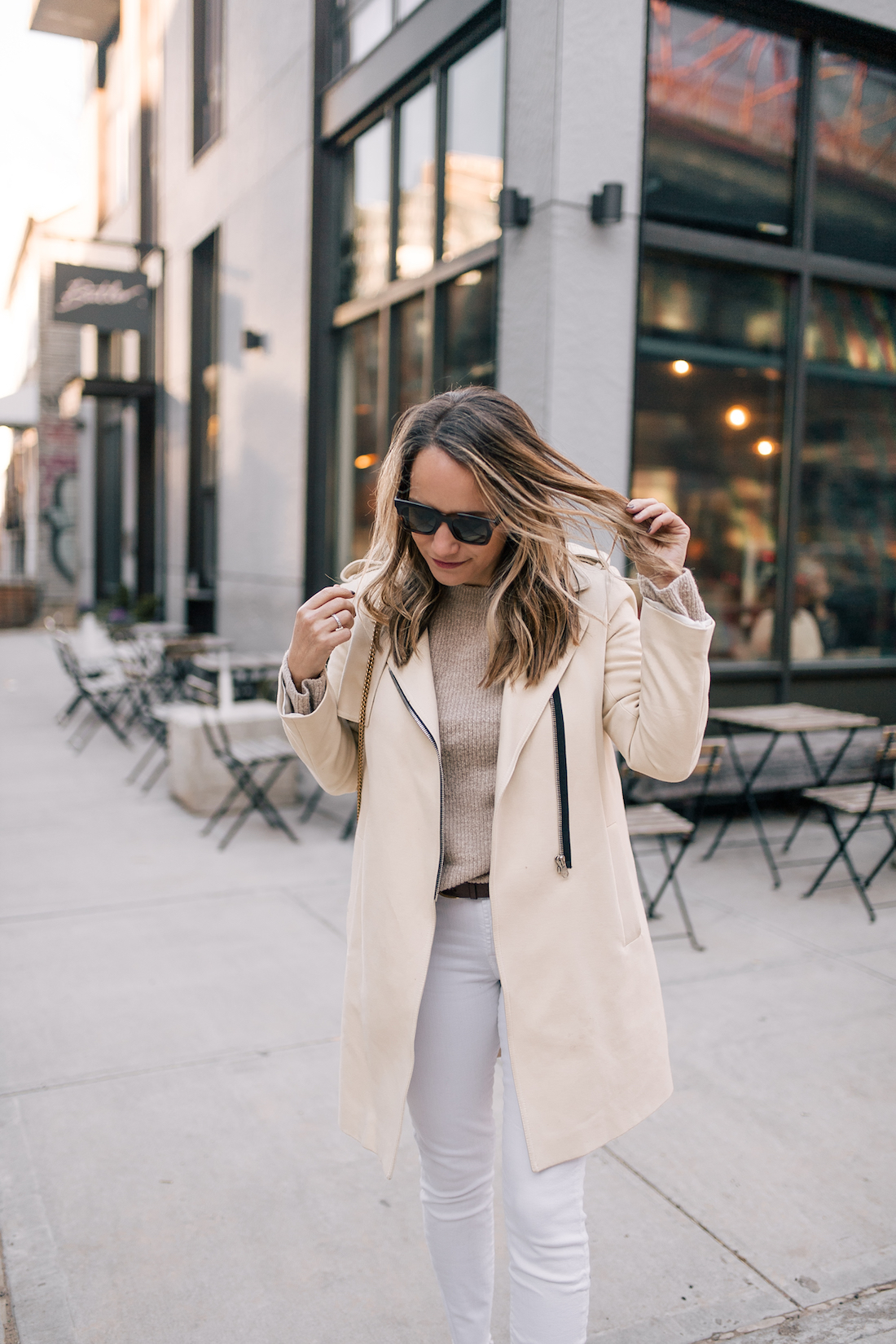 Outfit Details: Sandro Coat // ASOS Sweater // 7 for all Mankind Jeans // J.Crew Belt // Celine Sunglasses //