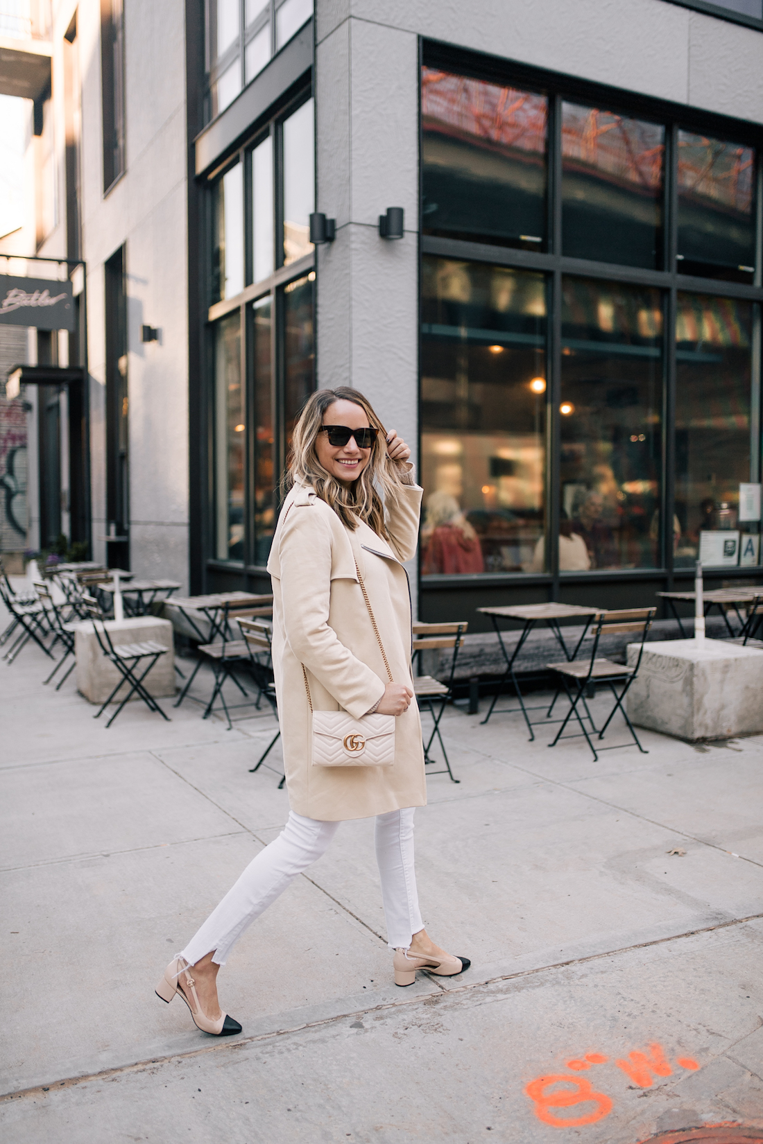 Outfit Details: Sandro Coat // ASOS Sweater // 7 for all Mankind Jeans // Sam Edelman Heels // Celine Sunglasses // Gucci Purse