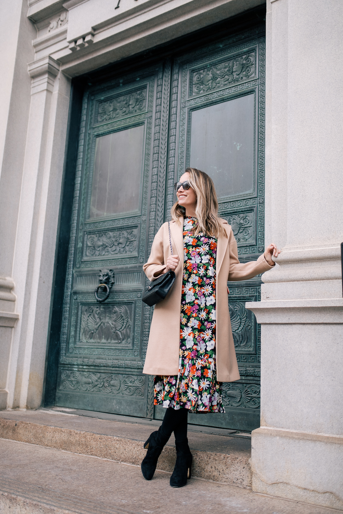 Outfit Details:Topshop Coat // L. K. Bennett Dress (gifted) // Express Tights// Marion Parke Boots // BaubleBar Green Lucite Hoops // Chanel Bag // Polaroid Sunglasses