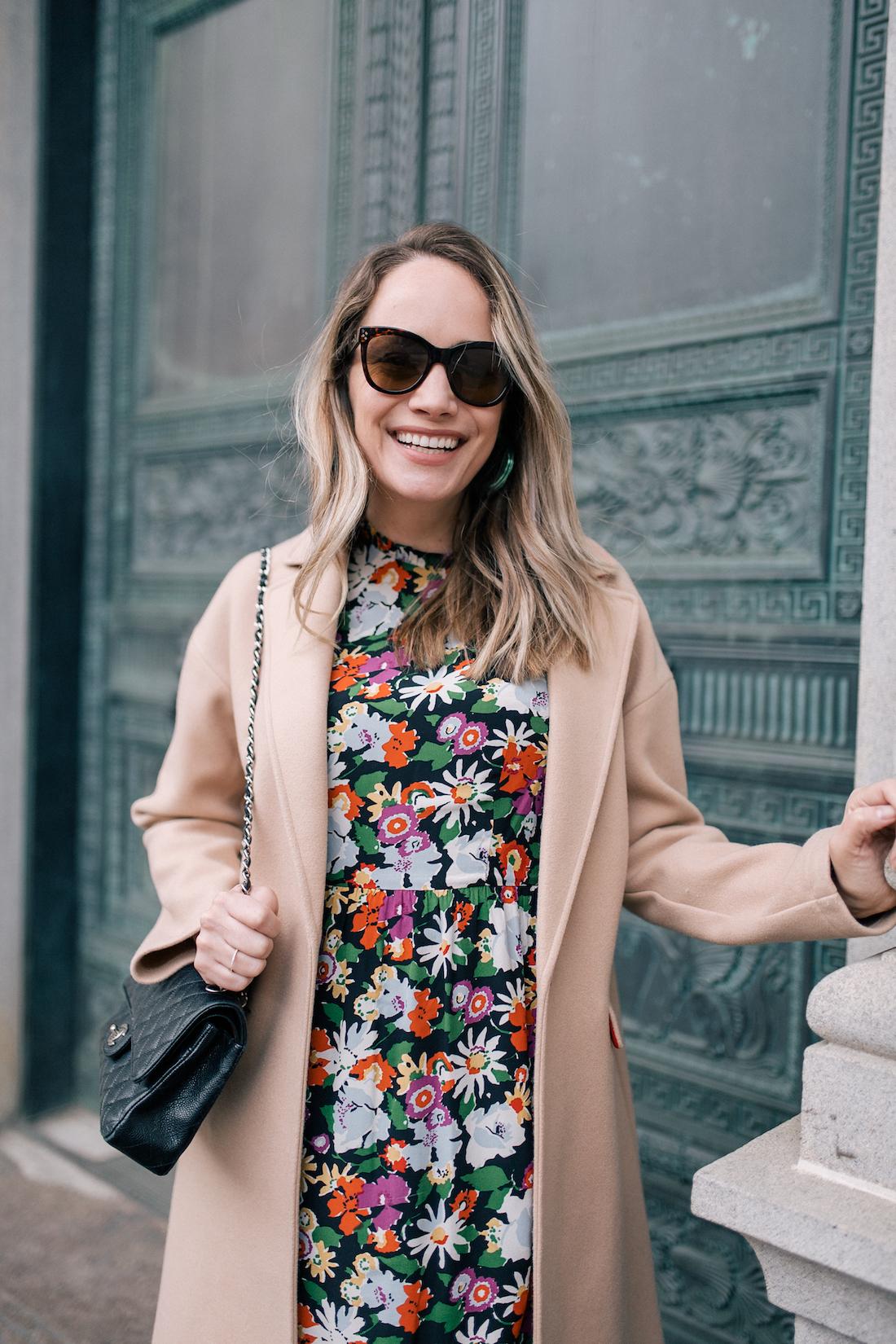 Outfit Details:Topshop Coat // L. K. Bennett Dress  // BaubleBar Green Lucite Hoops // Chanel Bag // Polaroid Sunglasses
