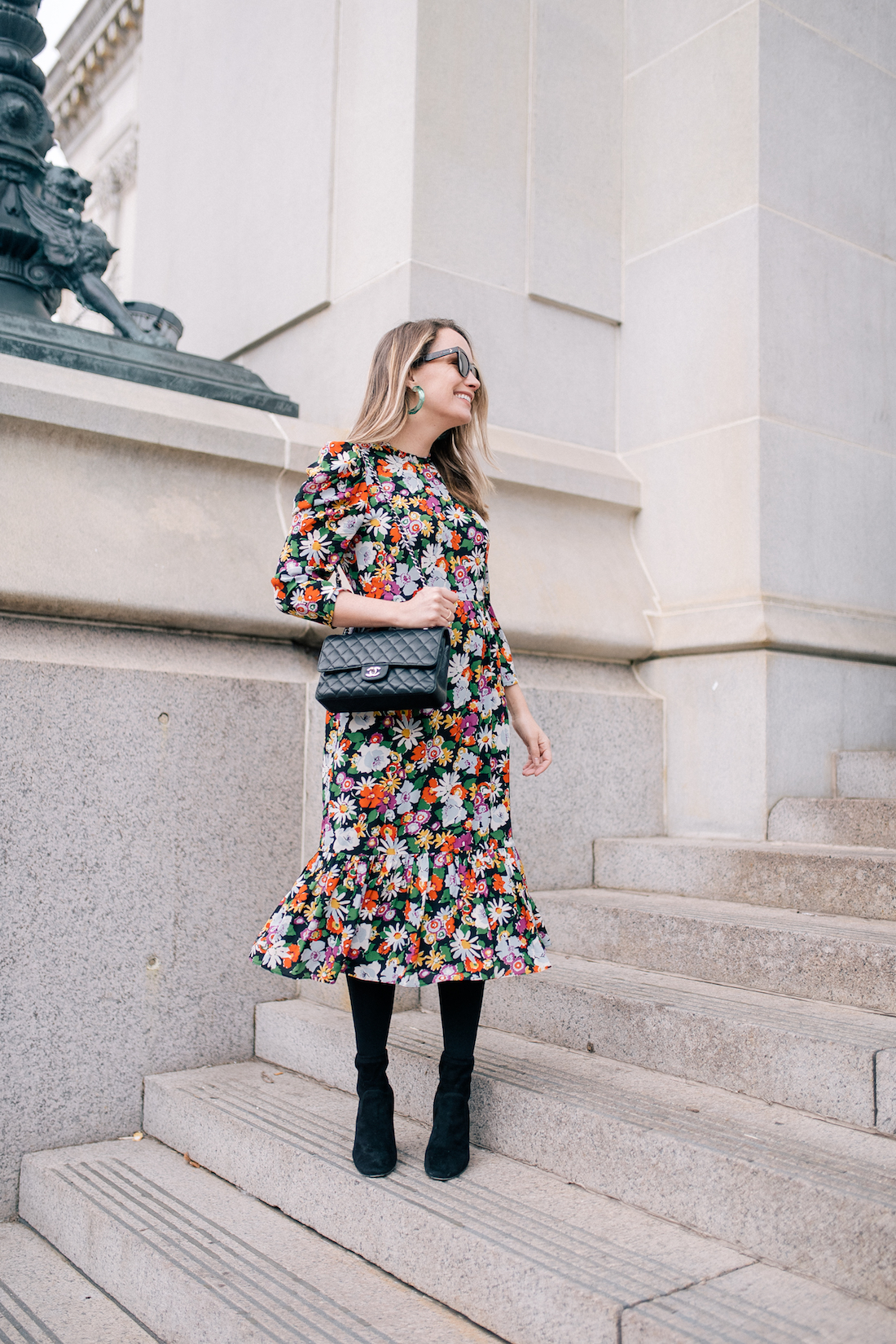 Outfit Details: L. K. Bennett Dress (gifted) // Express Tights// Marion Parke Boots // BaubleBar Green Lucite Hoops // Chanel Bag // Polaroid Sunglasses