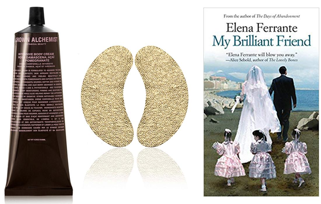 Grown Alchemist Body Cream // Wander Beauty Gold Eye Masks // My Brilliant Friend, by Elena Ferrante