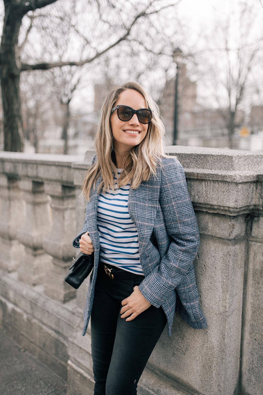 """OUTFIT DETAILS: La Vie Rebecca Taylor Coat // Saint James Tee // Paige Jeans // Gucci Belt //  Polaroid Sunglasses // Lipstick: Charlotte Tilbury in """"Bitch Perfect"""""""
