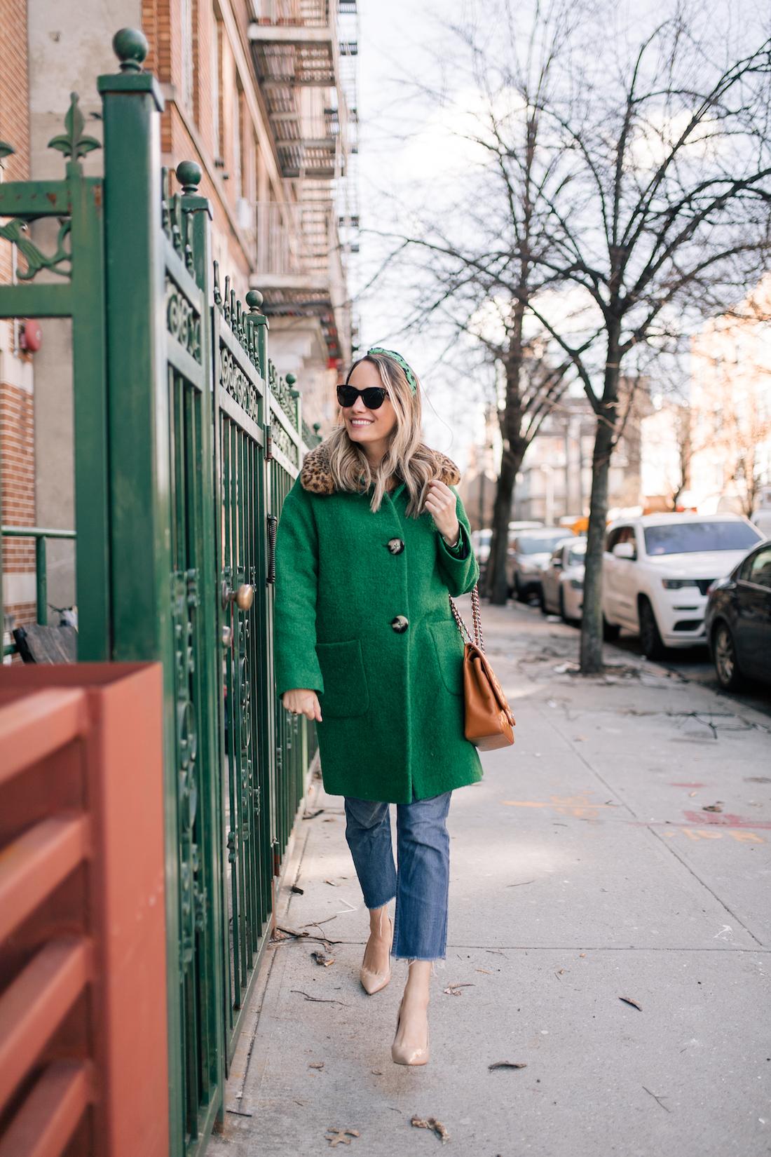 Outfit Details: L.K. Bennett Coat // Tanya Taylor Headband // Re/Done Jeans // J.Crew Belt // Estee LaLonde x Daisy Jewellery Necklaces // Manolo Blahnik Pumps // Chanel Purse // Polaroid Sunglasses
