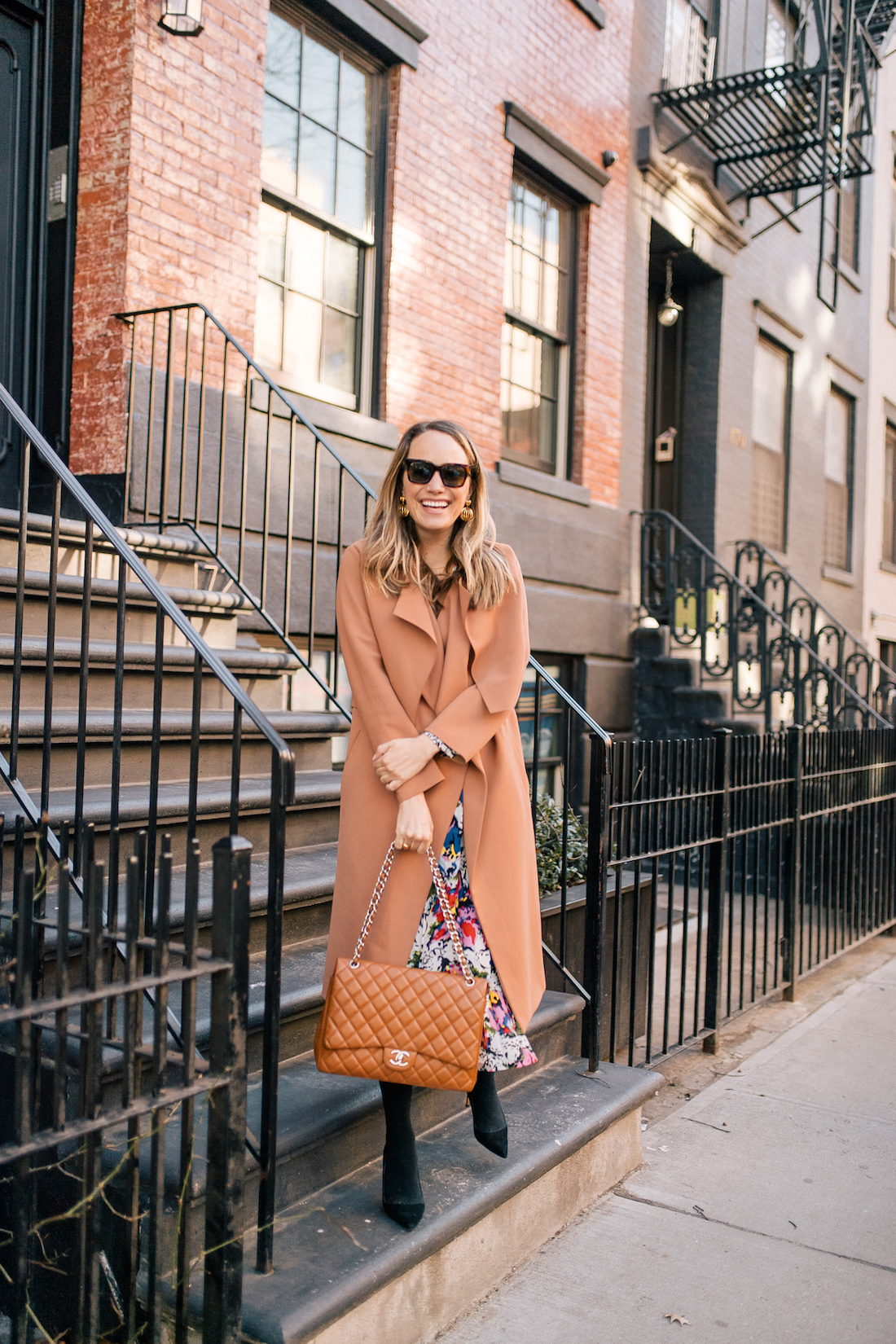 Grace Atwwod's Outfit Details: Malene Birger Coat // Rixo Floral Dress // Express Tights // Manolo Blahnik Heels // Chanel Purse // Celine Sunglasses // Tuckernuck Birdcage Earrings