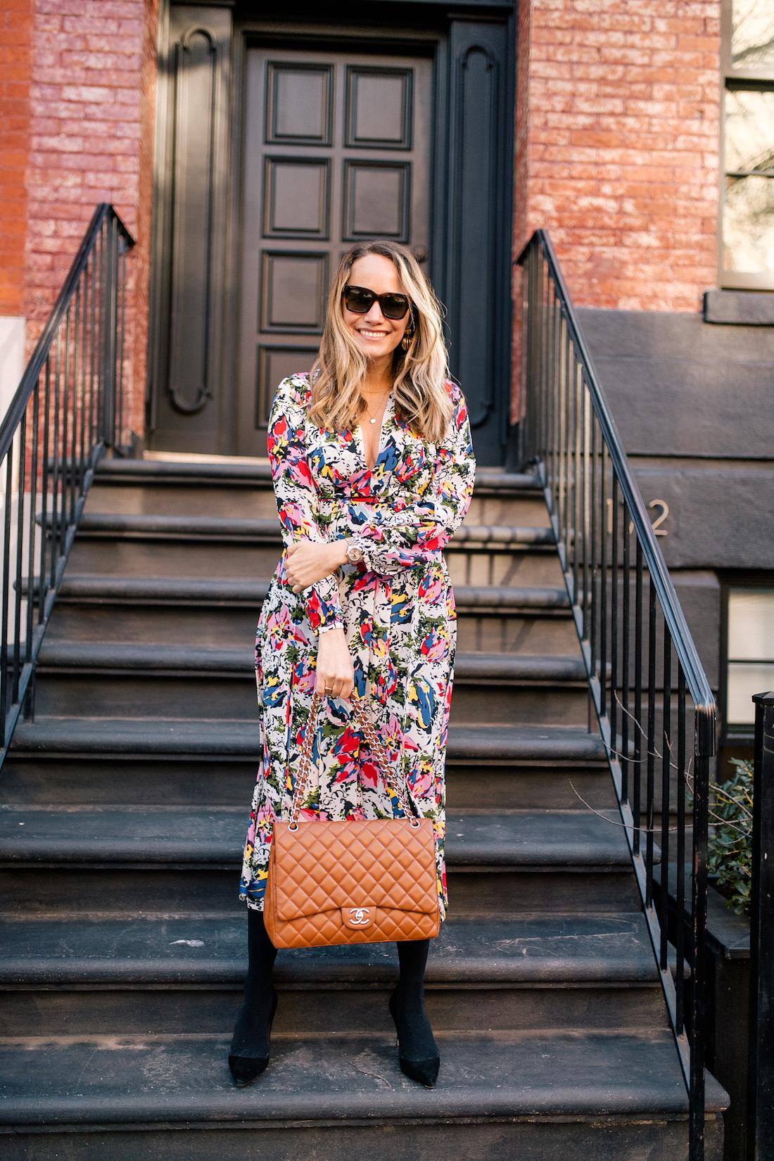 Grace Atwwod's Outfit Details: Rixo Floral Dress // Express Tights // Manolo Blahnik Heels // Chanel Purse // Celine Sunglasses // Tuckernuck Birdcage Earrings