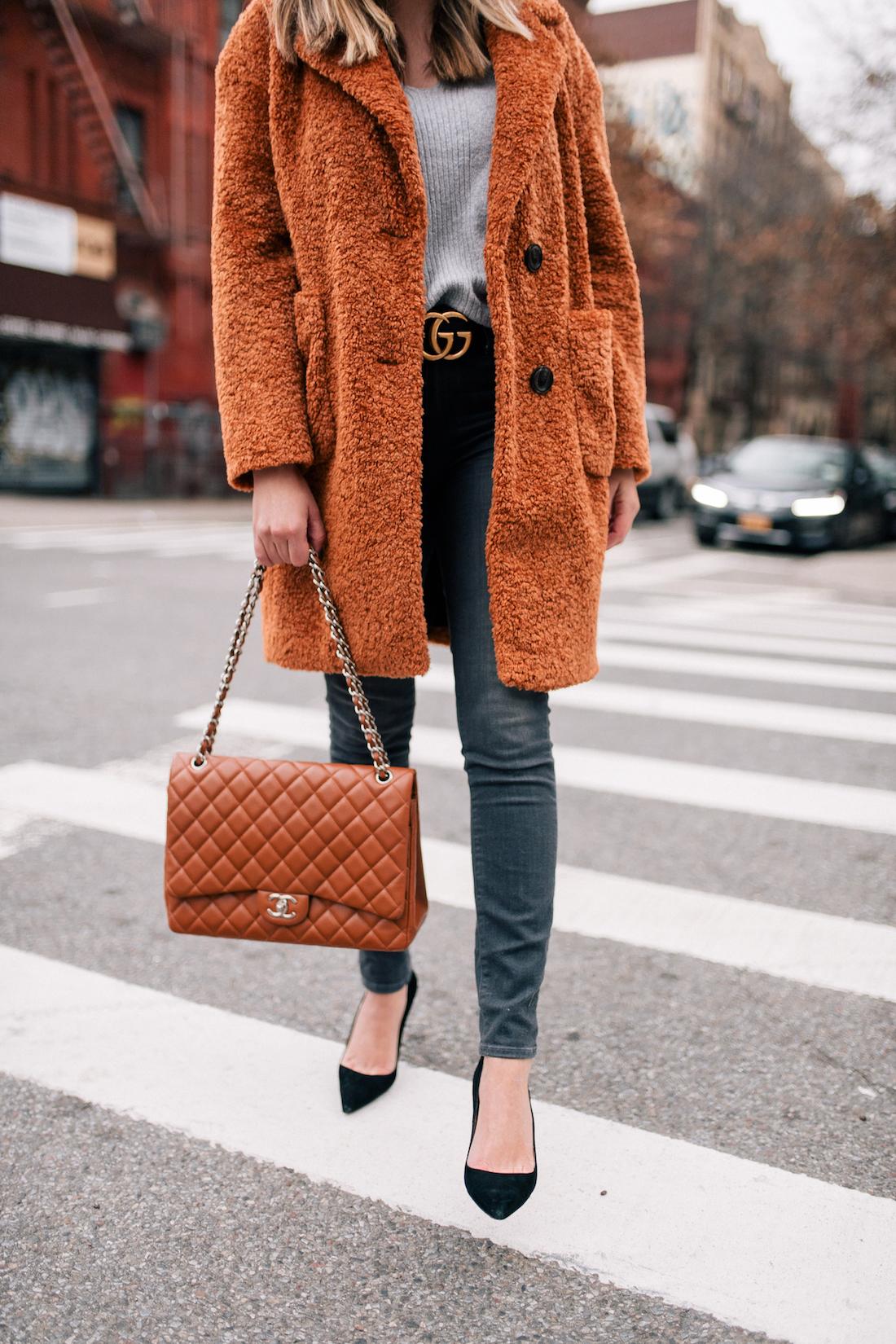 Outfit Details:Atlantic-Pacific x Halogen Teddy Coat // ASOS Sweater // Paige Jeans // Manolo Blahnik Pumps // Gucci Belt // Chanel Bag