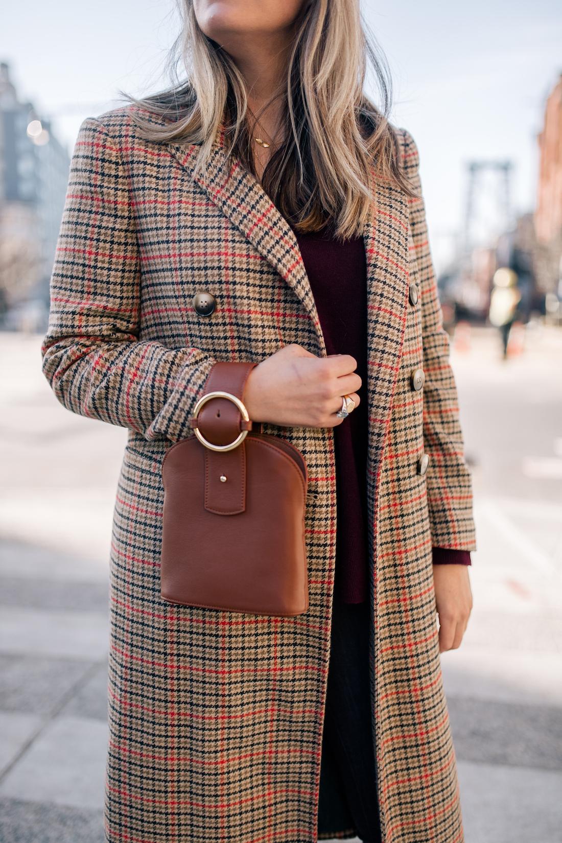 Grace's outfit details: Topshop Coat // Halogen Cashmere Sweater // Parisa Wang Bracelet Bag