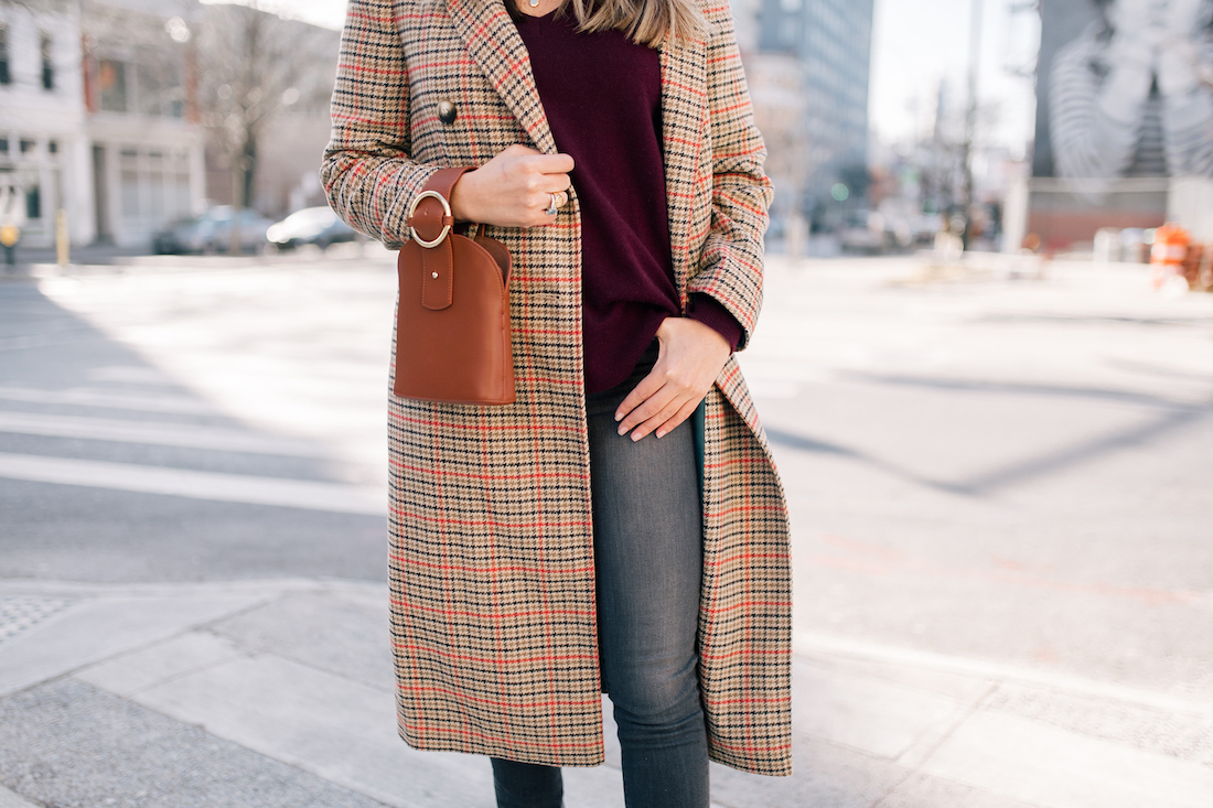 Grace's outfit details: Topshop Coat // Halogen Cashmere Sweater // Paige Jeans // gifted Sarah Flint Tortoise Slingbacks // Parisa Wang Bracelet Bag