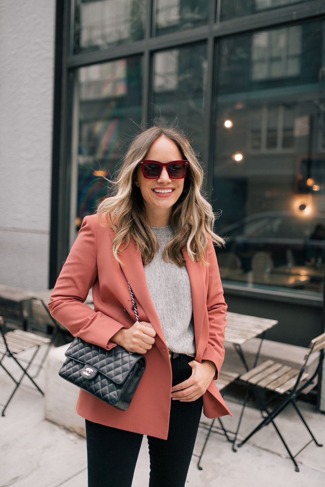 Outfit Details: Theory Blazer // Good American Jeans // Karen Walker Sunglasses // Chanel Purse