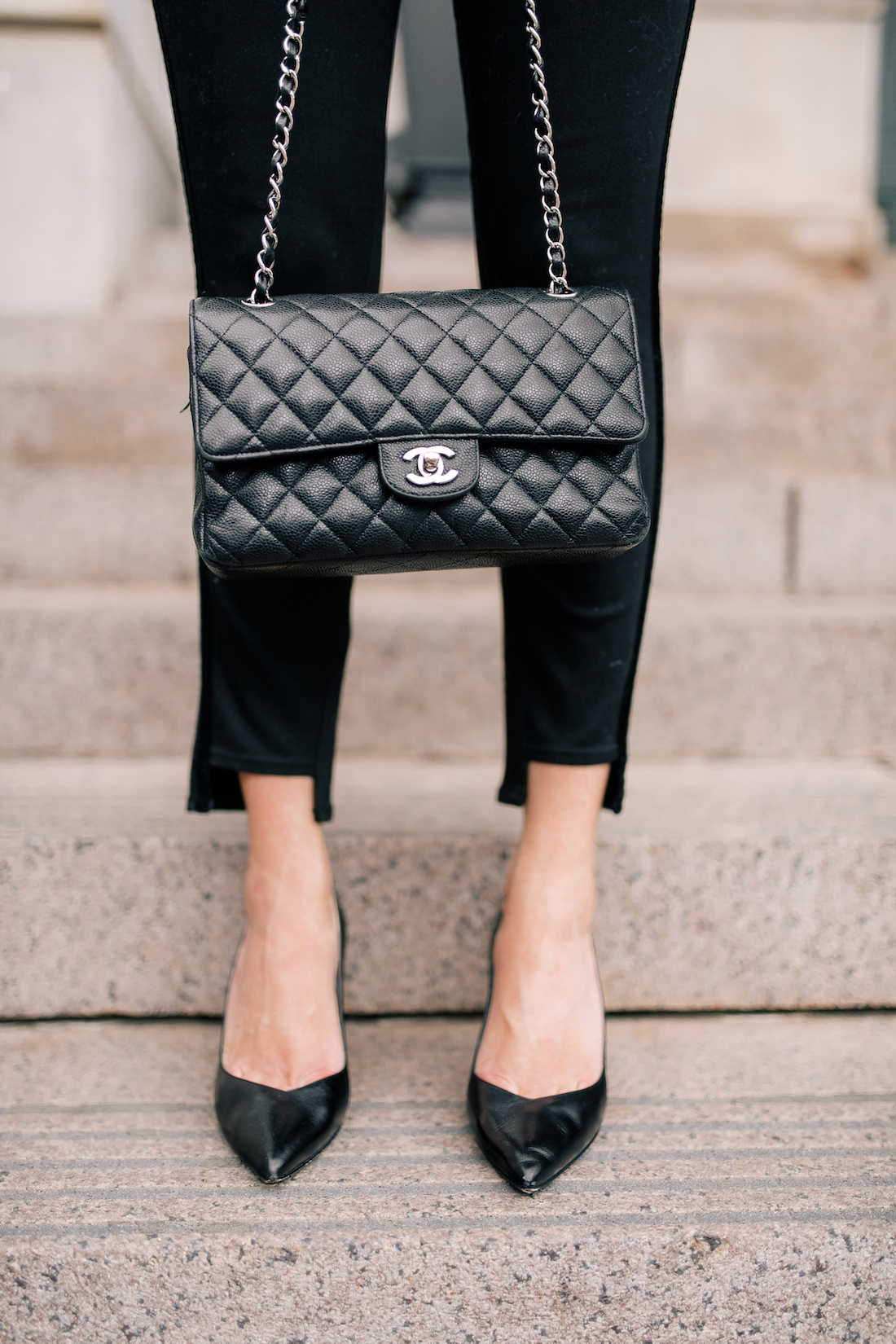 Chanel bag and black pumps