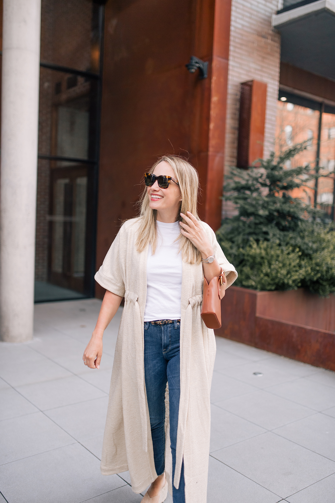 Saint Holiday robe, white tee and jeans outfit