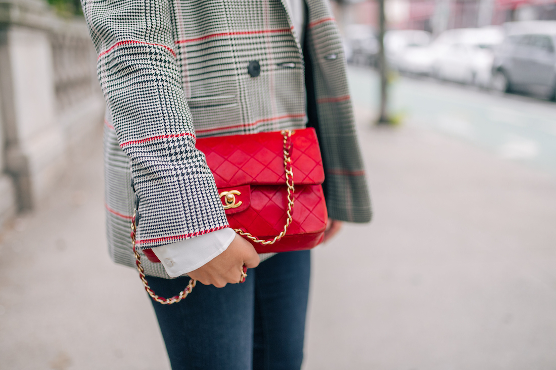 Anine Bing Blazer and Red Chanel Bag