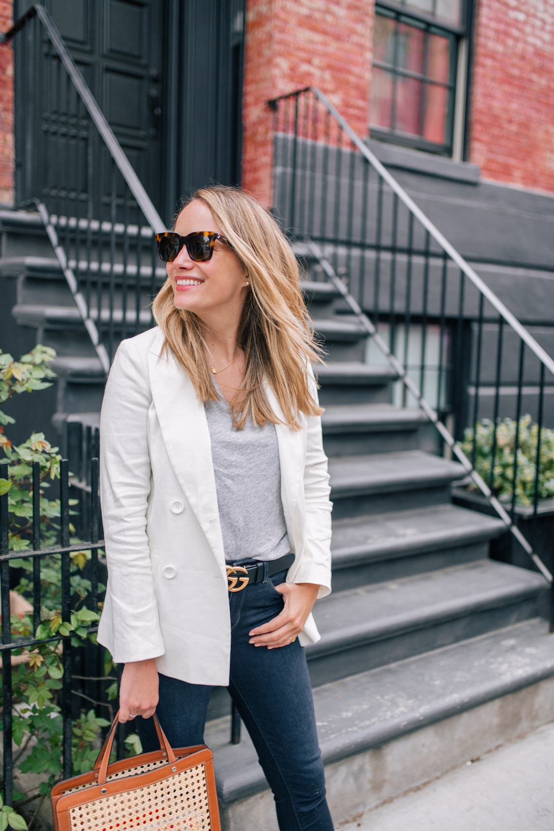 Outfit Details: White Blazer For Spring // Madewell Tee // Paige Jeans // Gucci Belt // Palmgrens Bag // Celine Sunglasses // Estee Lalonde x Daisy Jewellery Necklace