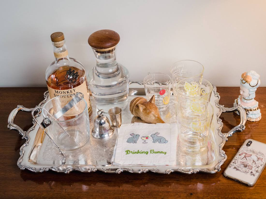tray with cups and drinks