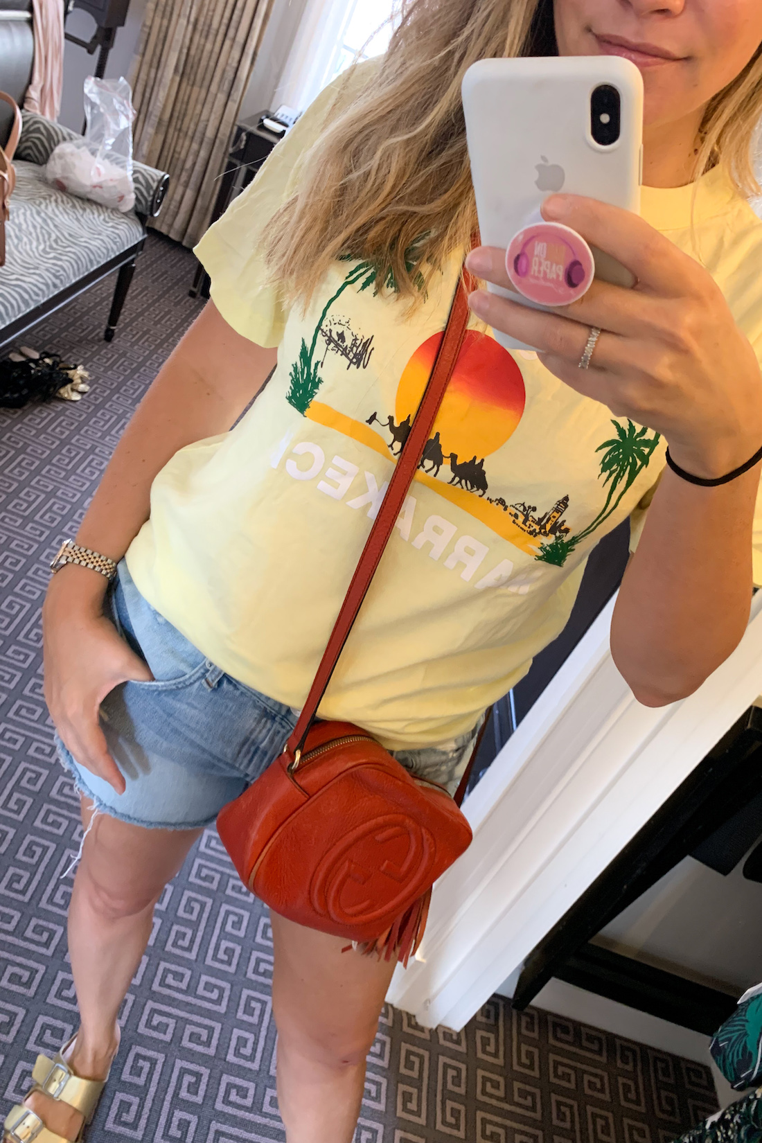 what I wore: Marrakech Tee, denim shorts, red gucci