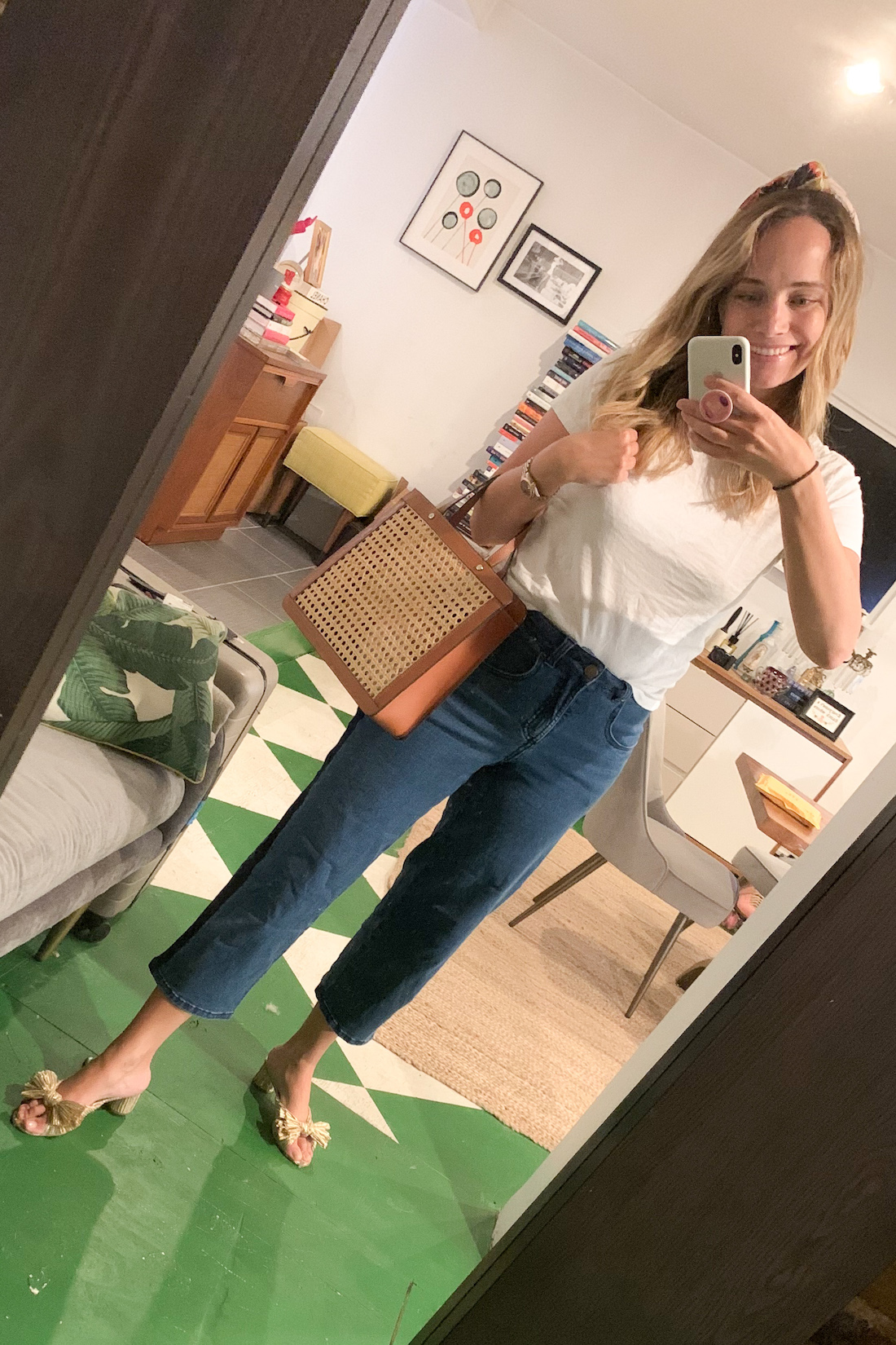 what I wore: Hanes xKarla Tee // gifted Universal Standard Tuxedo Jeans (new fav, so comfy!)// Loeffler Randall Heels // Palmgrens Rattan Bag (cute knockoff here) // Tanya Taylor Headband