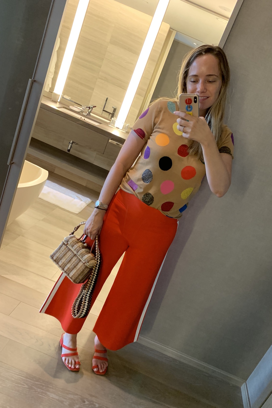 I wore an outfit of polka dots and colors.