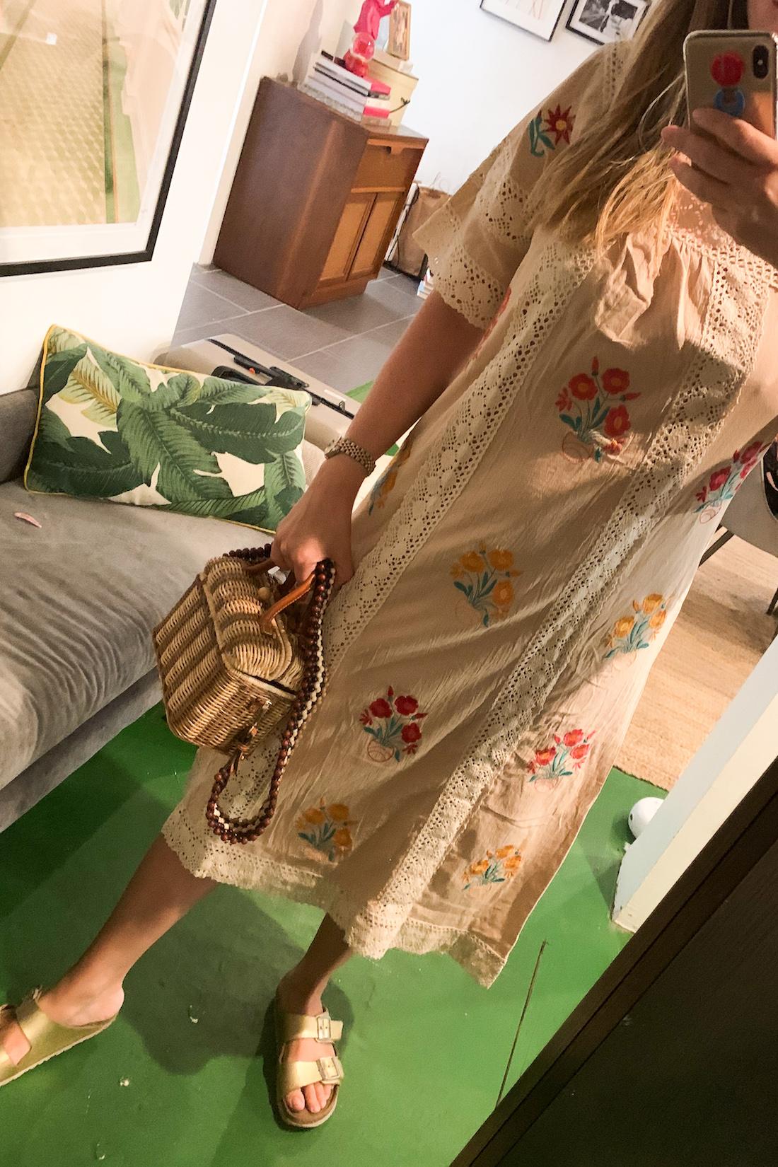 Amazon dress // Ulla Johnson Purse // Birkenstocks // BaubleBar iPhone Case