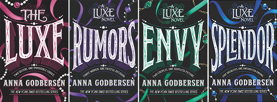four thriller books in a series called luxe