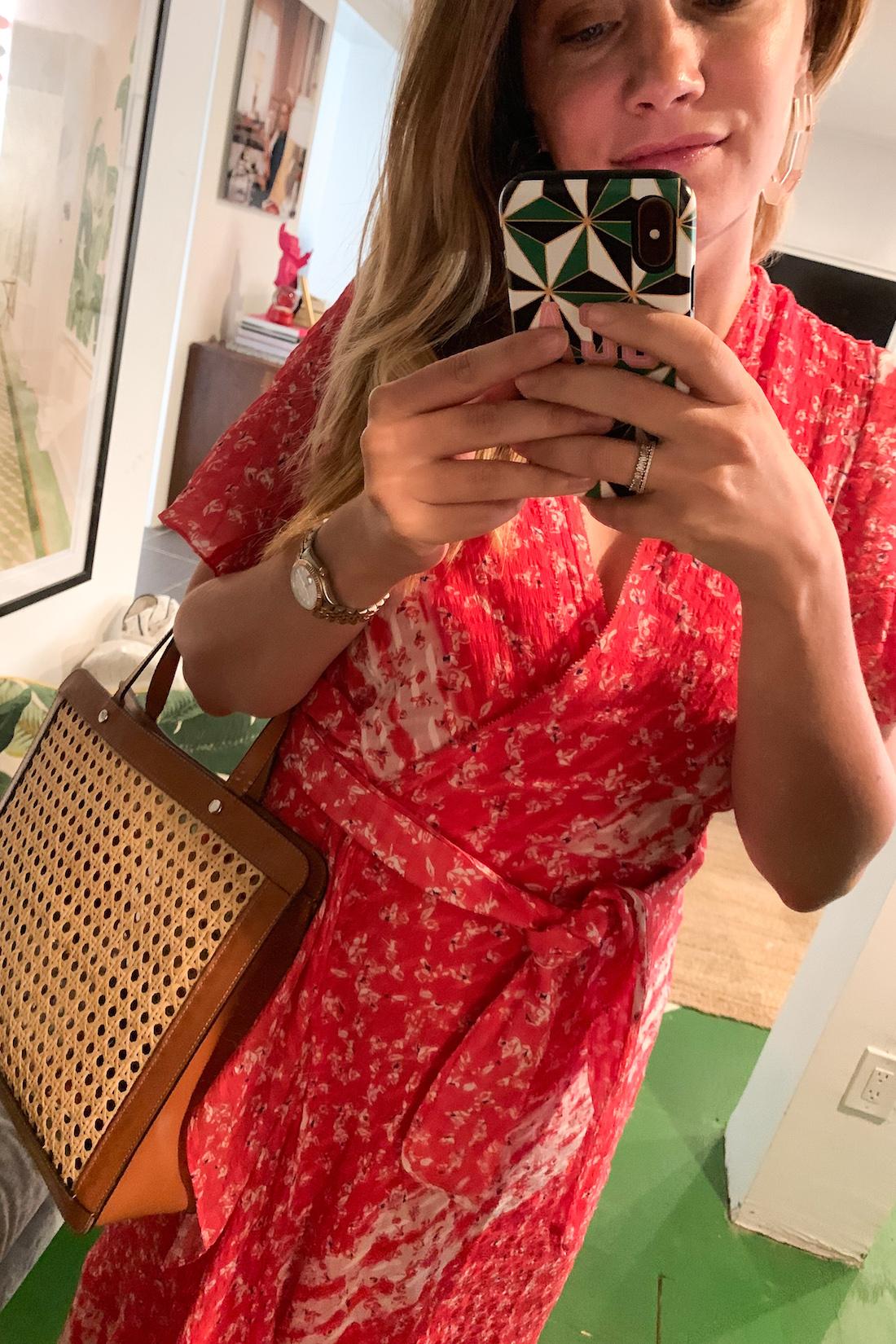 grace in a red dress