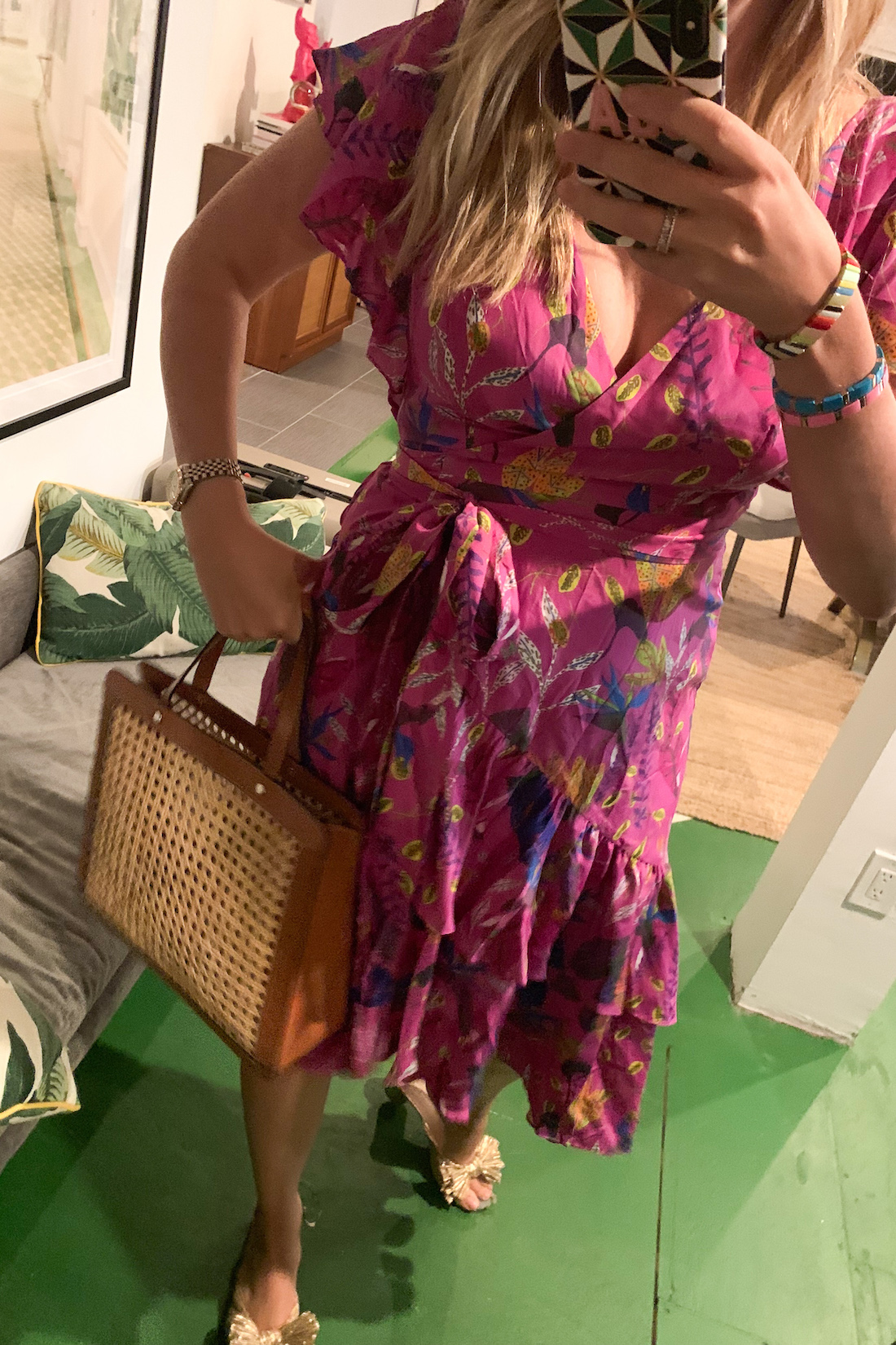 Grace actually wore this pink dress with a structured bag