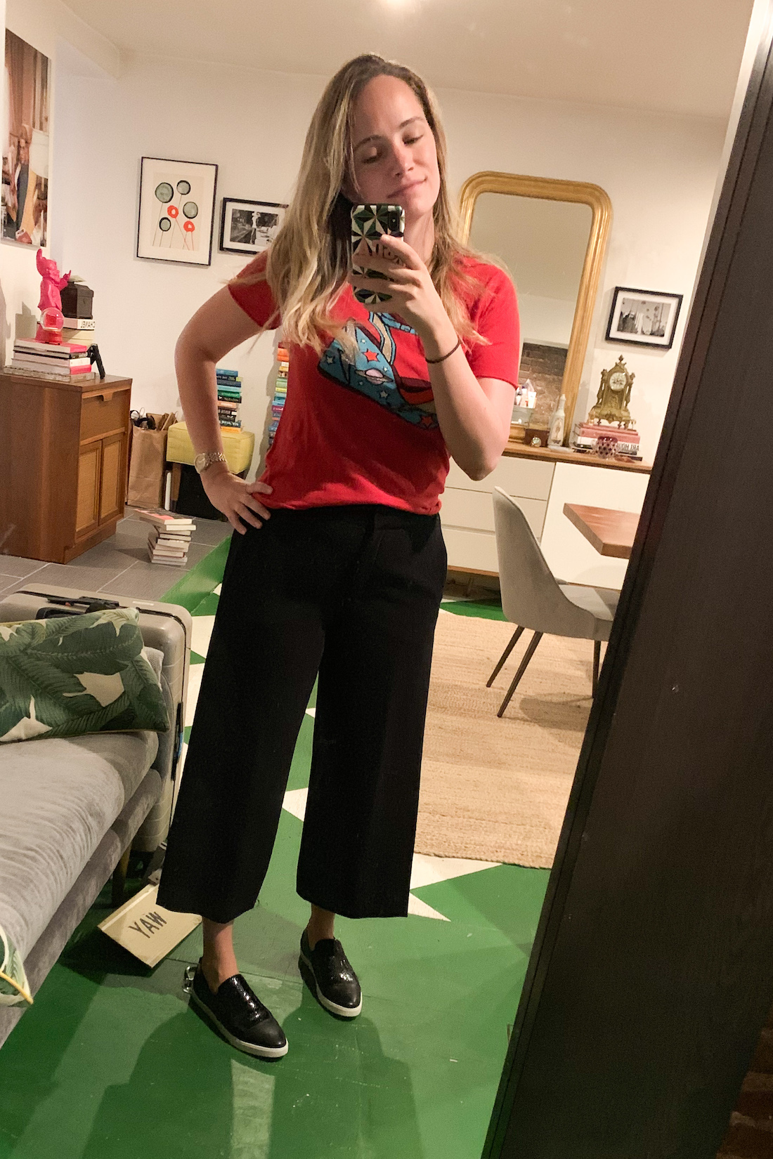 a red shirt and black pants are What I Actually Wore