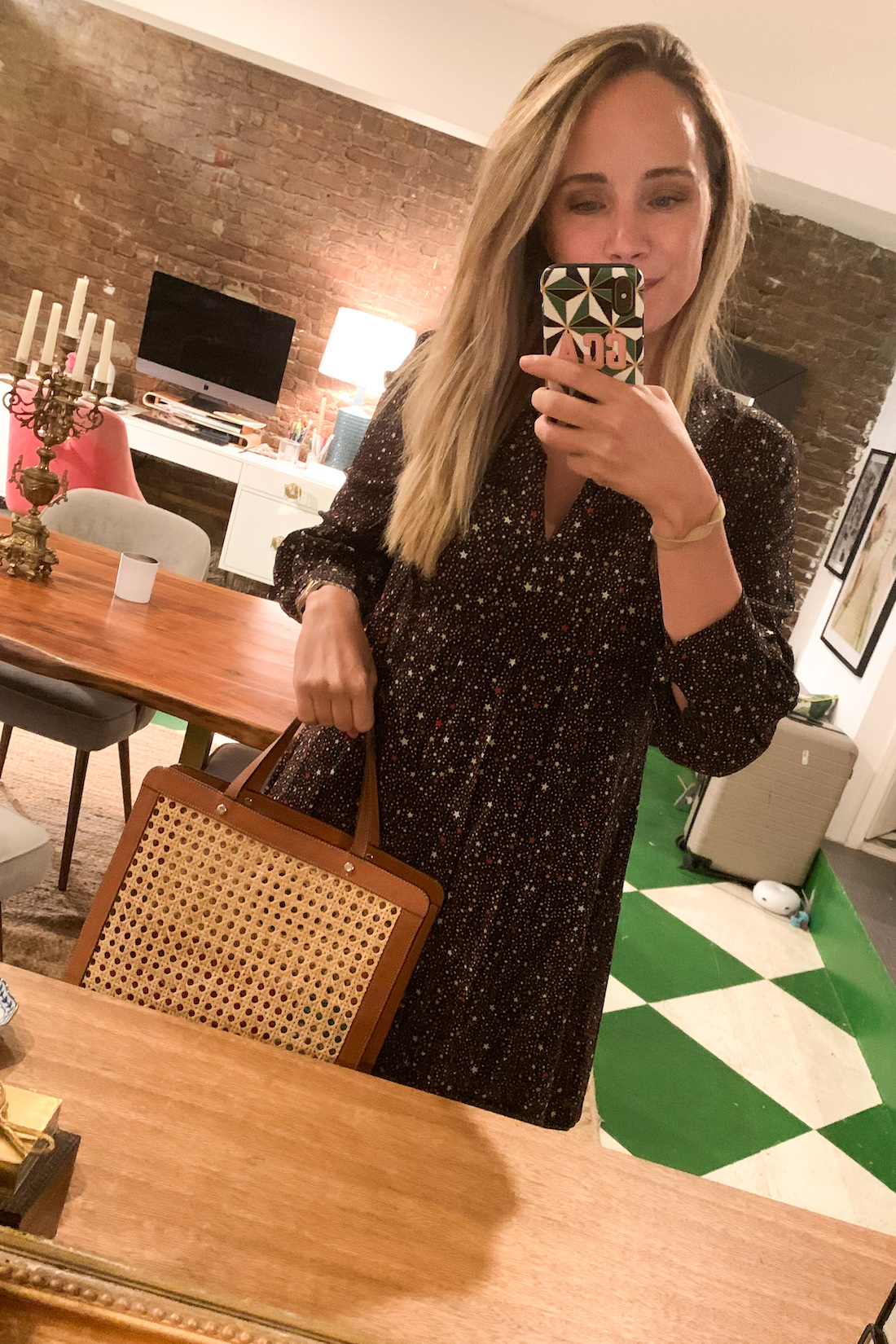 an outfit diary of a dress and a bag in What I Actually Wore