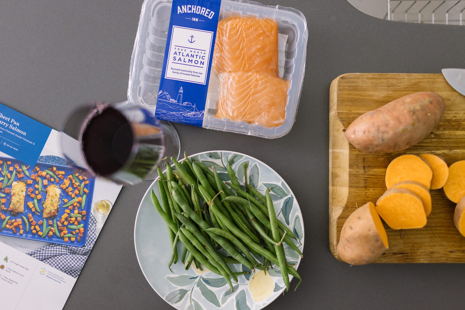 Blue Apron Sheet Pan Curry Salmon With Ponzu Dressed Sweet Potatoes + Green Beans