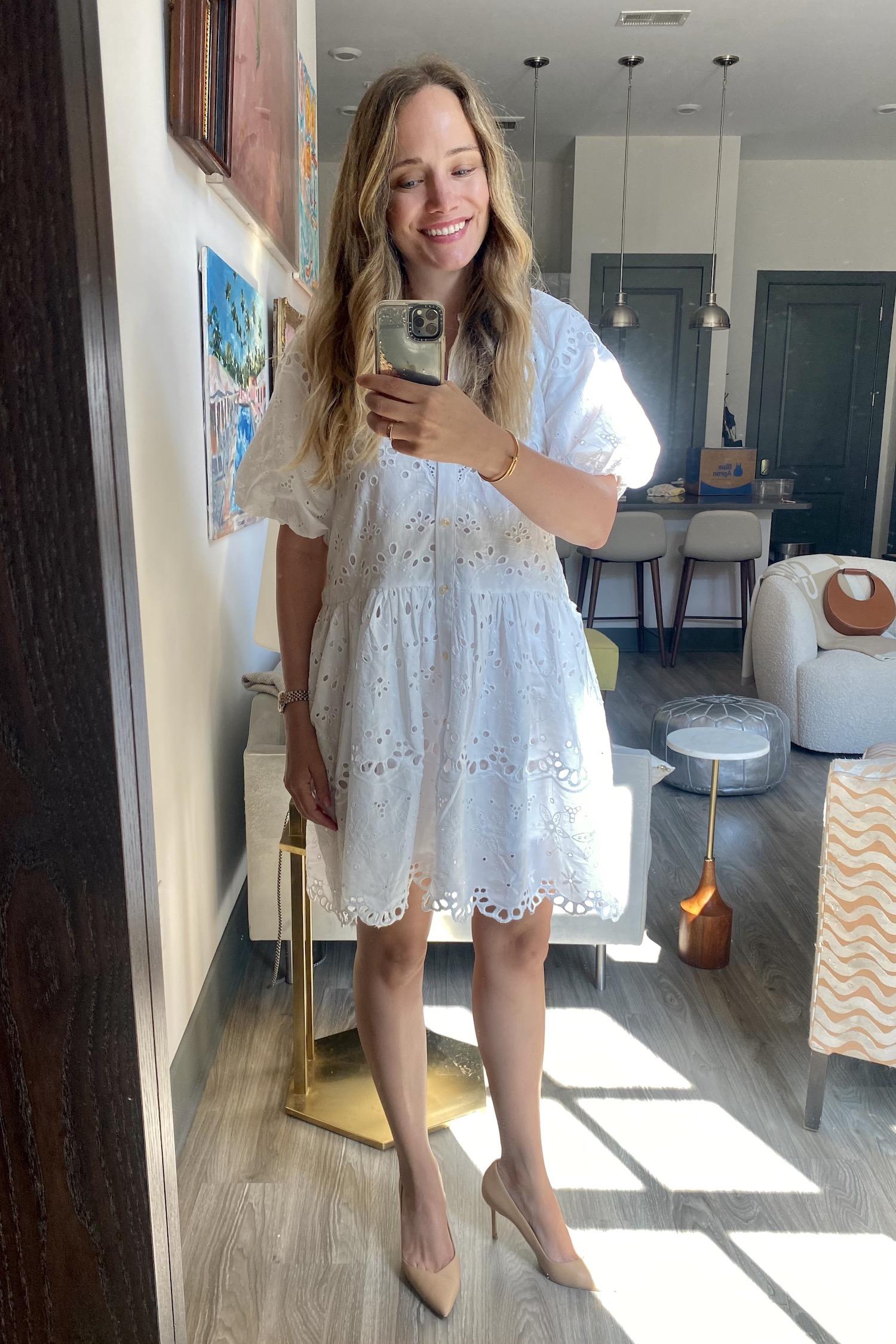cutest Anthropologie eyelet dress | What I Wore Last Week 6.2.21
