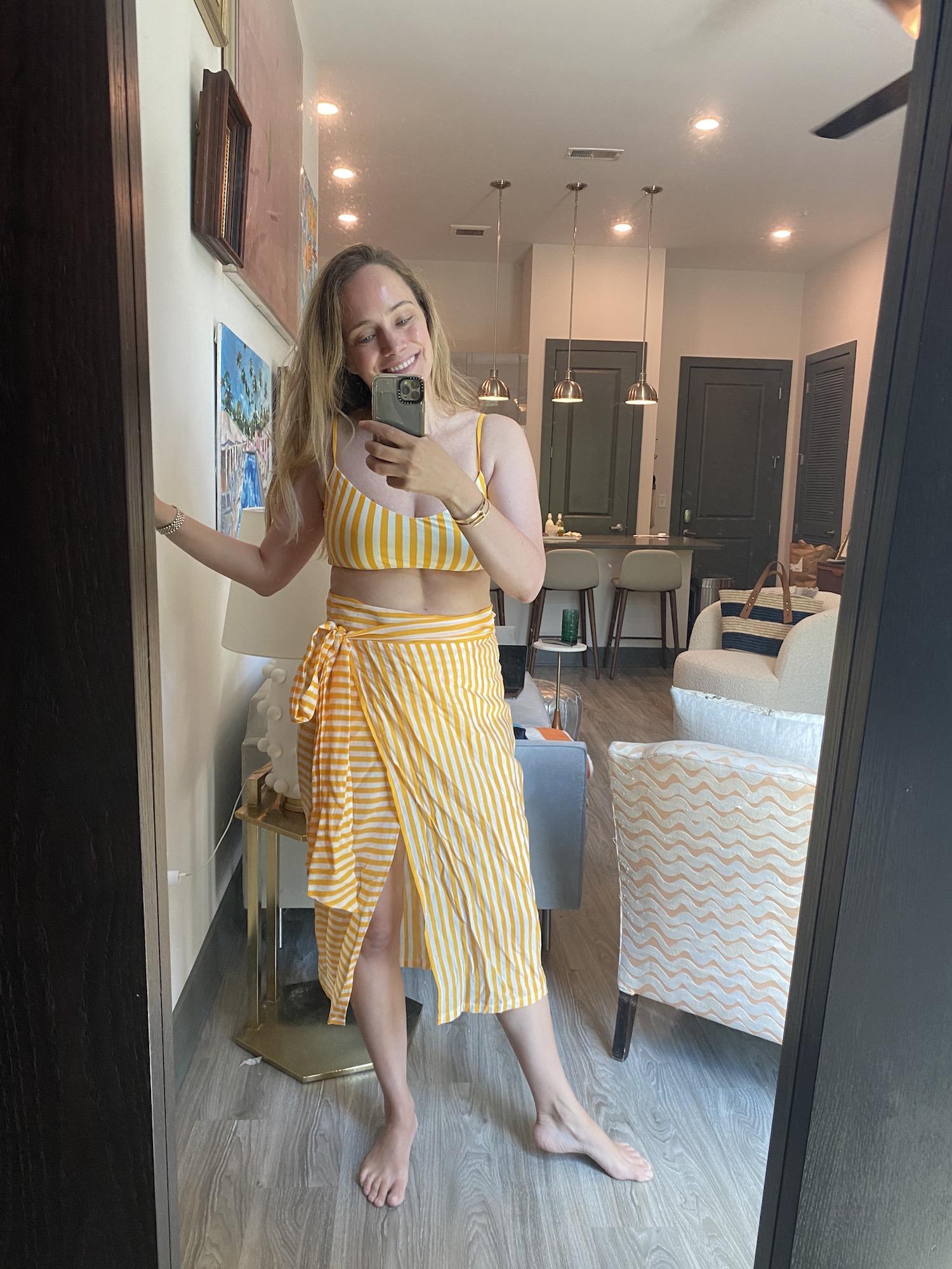 yellow & white stripe bikini
