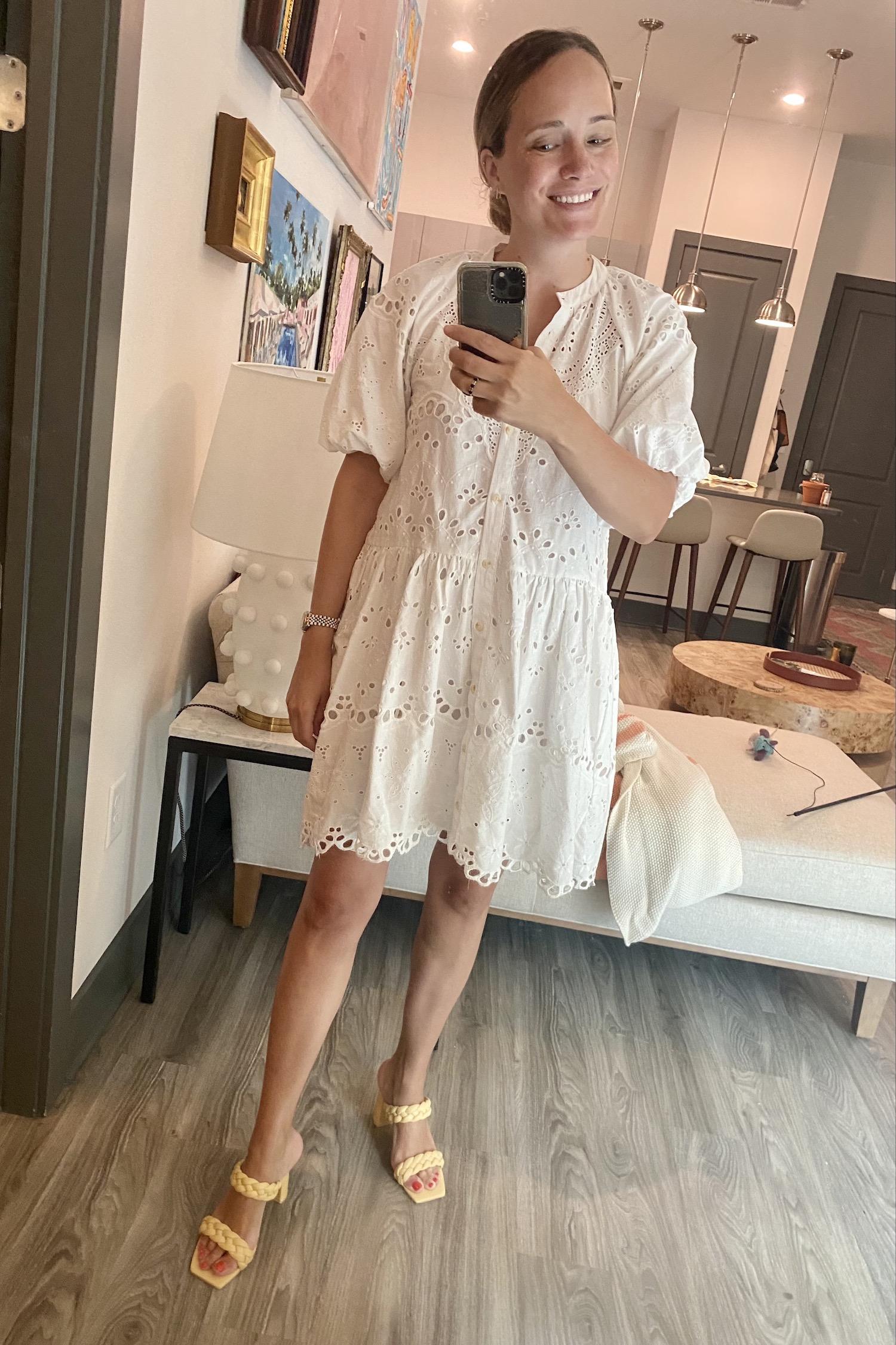 Anthropologie eyelet white dress