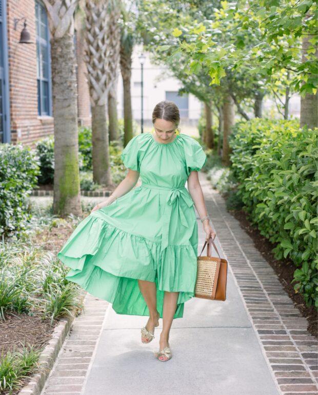 Weekend Reading, 6.19.21 green puff sleeve dress