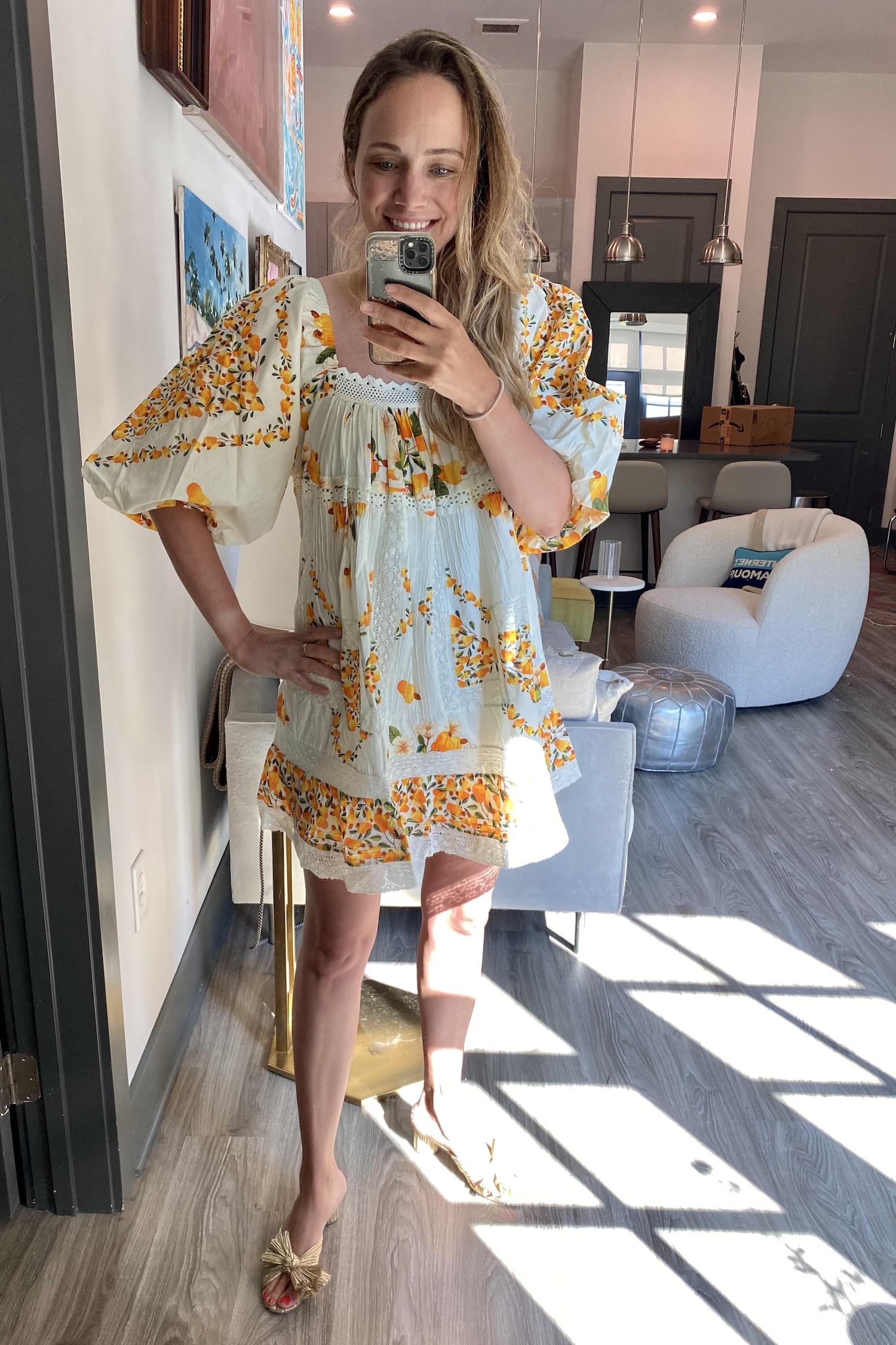 pretty yellow Farm Rio dress