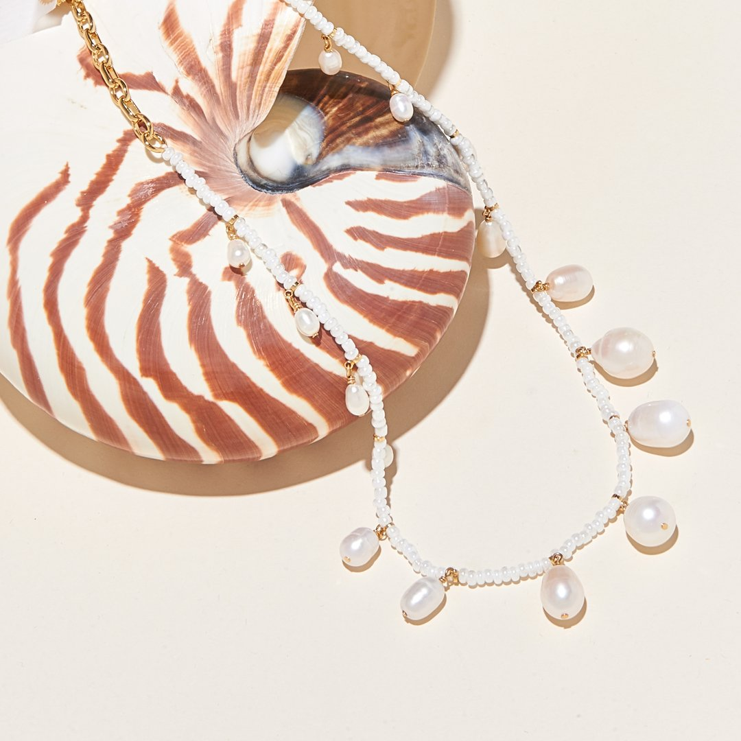 pearl + bead necklace from Mignonne Gavigan