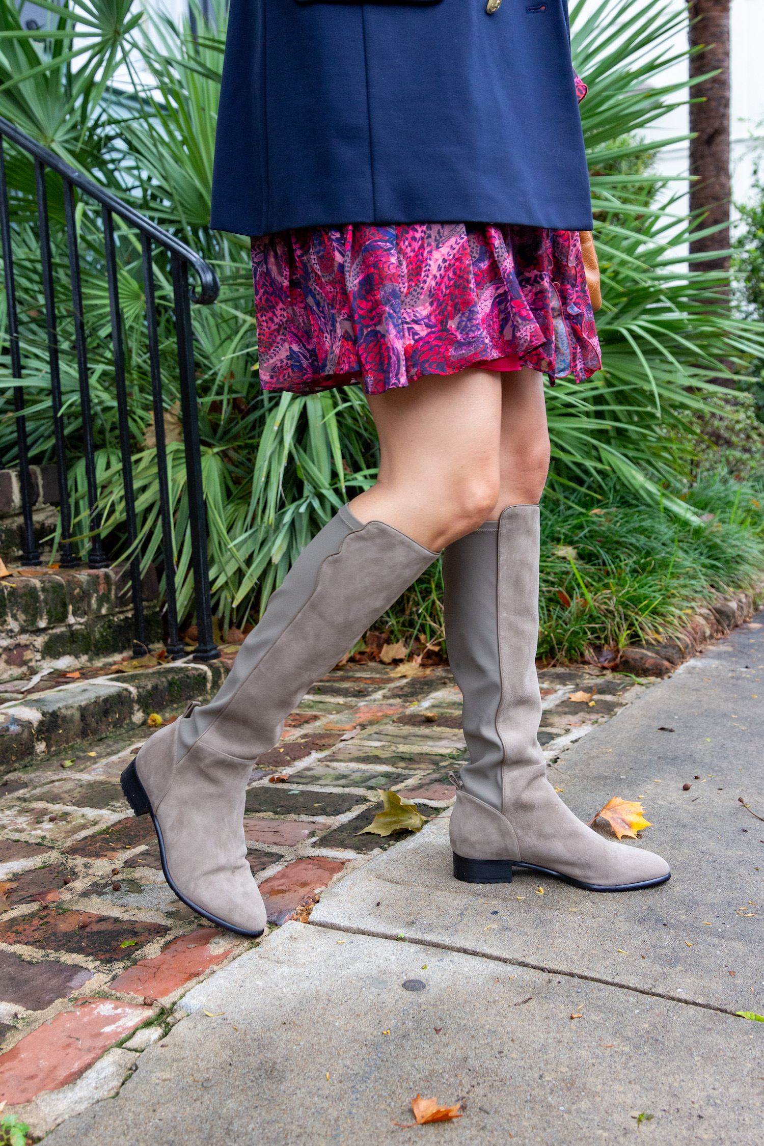 Taupe knee-high boots